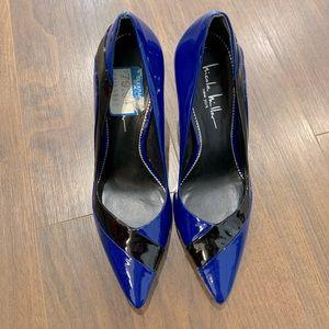 Shiny black and blue heels